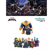 ABG Toys 10 Minifigures MARVEL DC COMICS Guardians of the Galaxy Vol. 2 Star-Lord, Groot, Ayesha, Yondu, Drax The Destroyer, Rocket Racoon, Nebula, Thanos, Gamora Series Building Blocks Sets Toys