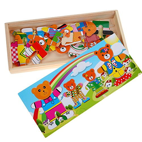 Chakit Cute Bear Dress Up Puzzle Toy Baby Educational Toys Changing Clothes for Bear Children's Wooden Board Game Toy 31 14 3.5cm