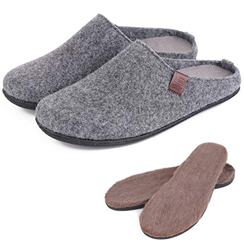 LB LONGBAY SINCE 1997 Men's Wool Blend House Slippers Comfy Removable Insole Home Shoes (Medium / 9-10 D(M), Dark Gray) (Mens Boiled Slippers)