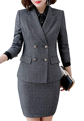 (Women's Formal Three Piece Business Blazer Suits Double Breasted Women Blazer Jacket,Vest&Pant/Skirt)