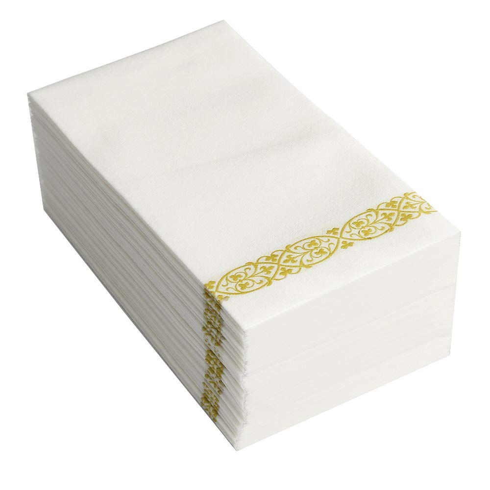 GOLD Floral Disposable Paper Towels Napkins for Guests TRLYC Soft and Absorbent Linen Bathroom Hand Towels 300 Picecs SH-ed 180905 300pcs Napkins