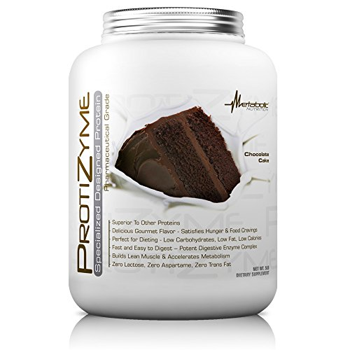 Metabolic Nutrition, Protizyme, 100% Whey Protein Powder, High Protein, Low Carb, Low Fat Whey Protein, Digestive Enzymes, 24 Essential Vitamins and Minerals, Chocolate Cake, 5 pound (ser)
