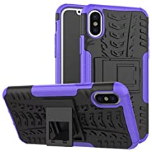 iPhone6 Case, Awesome Armor Foldable Movie Stand Slim Cover, TAITOU New Ultra Hybrid 2 In 1 Thin Anti Scratch Drop Outdoor Sport Protect Phone Coque For Apple iPhone 6S Purple