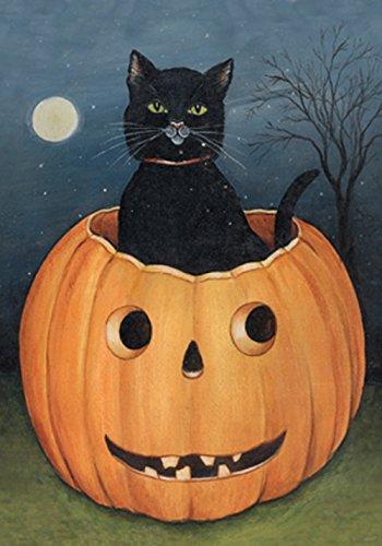 Toland Home Garden Hollow Cat 12.5 x 18 Inch Decorative Americana Halloween Pumpkin Black Kitty Garden Flag ()