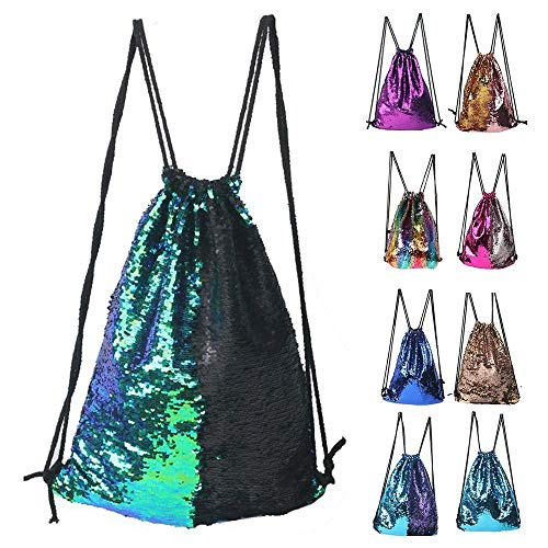 Winmany Mermaid Sequin Backpack Glittering Outdoor Shoulder Bag, Magic Reversible Glitter Drawstring Backpack, Fashion Bling Shining Dance Bag, Sports Backpack Bag, Green Black, 17.7 x 13.8