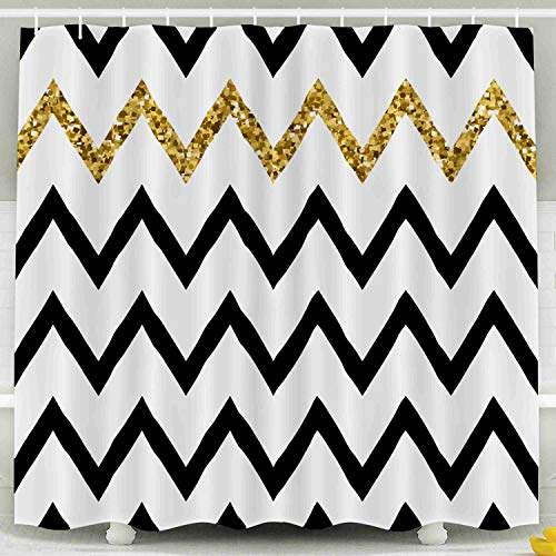 Shorping 78x72 Shower Curtain,Kids Shower Curtain, Pattern Golden Glitter Zigzag Chevron Background Zag Stripe Textile Web Wrapping Save The Date Wedding Waterproof Decor Bathroom Set with Hooks]()