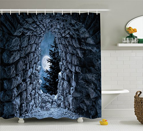 Gothic Decor Shower Curtain Set By Ambesonne, Dark Cave With The Light Of Full Moon At Night Scary Horror Medieval Gothic Theme Artwork, Bathroom Accessories, 69W X 70L Inches, Blue Grey