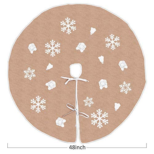 (Tang Town Christmas Tree Skirt - Burlap Tree Skirt Xmas 48 inch Diameter, Themed with Snowflakes, Jingle Bell & Gift Box Classic Pattern, Holiday Party Decoration, Large Size for Indoor Outdoor)