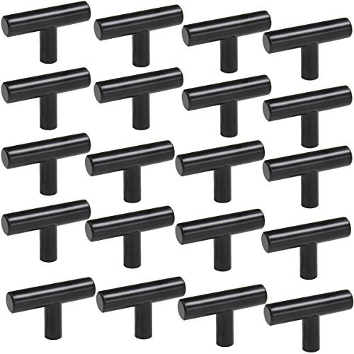 Probrico Flat Black Modern Cabinet Hardware Drawer Handle Pulls Kitchen Cupboard T Bar Knobs and Pull - Single Hole - 20Pack (Knobs Modern Hardware Round Cabinet)