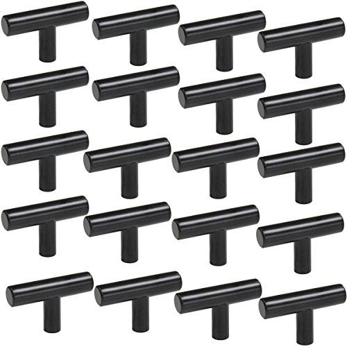 Probrico (20 Pack) Black Modern Cabinet Knobs Single Hole Hardware Drawer Handle Pulls Kitchen Cupboard T Bar Knobs