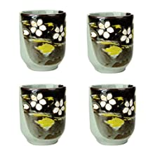 Set of 4 Ceramic Tea Cups Japanese Style Creative Teacups Small Teacups Gift [M]