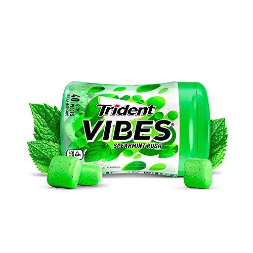 Trident Vibes Spearmint Rush Sugar Free Chewing Gum - 4 Bottles (160Piece -