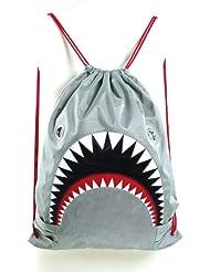 Unisex Water Resistant Nylon Shark Bite Jaws Drawstring Knap Sack Back Pack (...