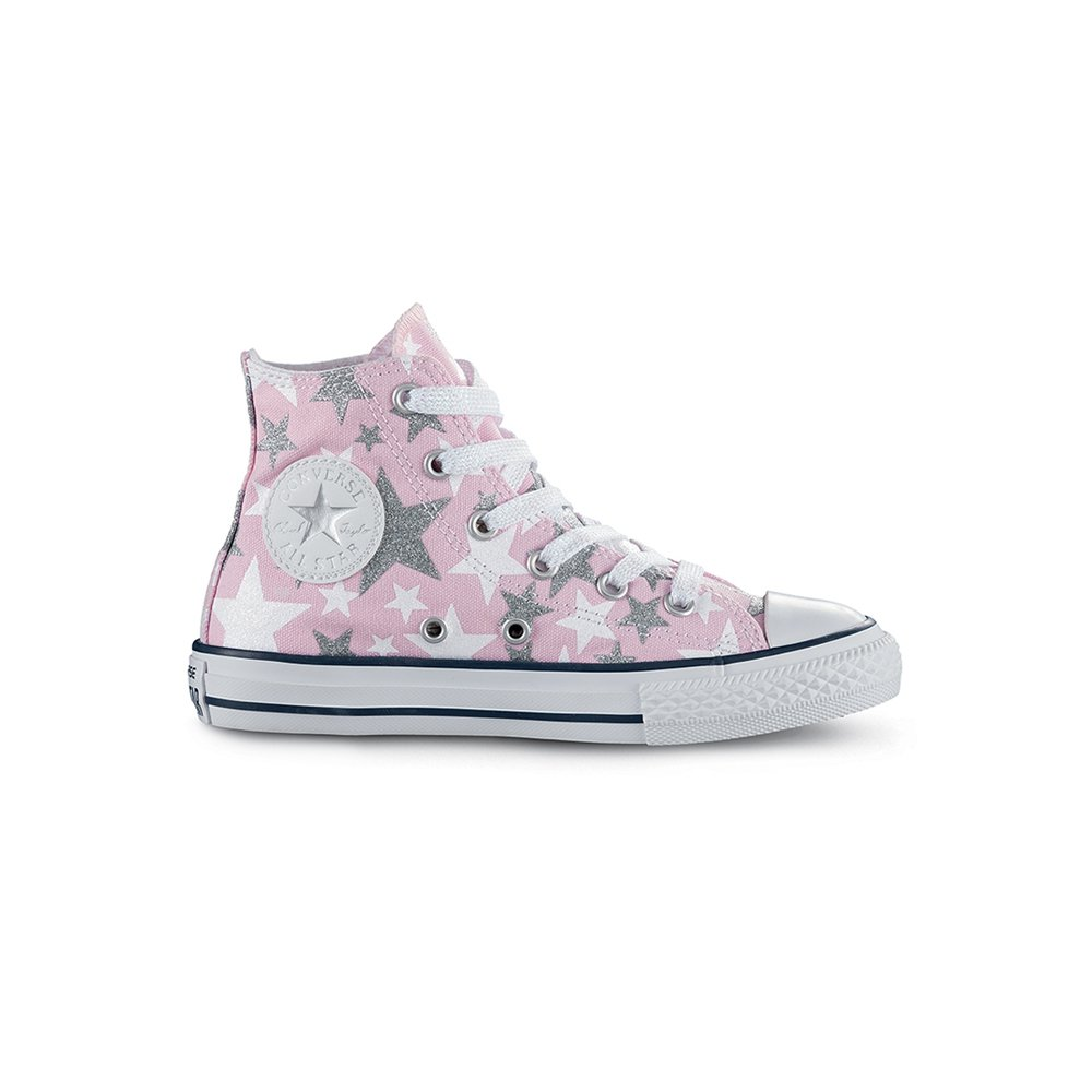 096d2a0afa397c Galleon - Converse Kids Chuck Taylor All Star Hi Infant Toddler Fairy  Tale White Silver Girls Shoes