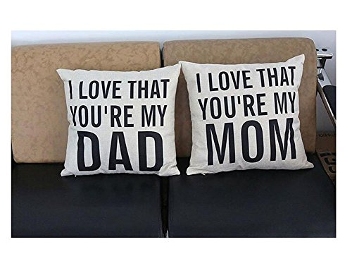 LEIOH Decorative Cotton Linen Square Unique I LOVE THAT YOU'RE MY DAD Pattern Throw Pillow Case Cushion Cover 18 x 18 Inches,Christmas Gifts for Dad,Fathers Day Gifts,Dad Gifts,Dad Birthday Gifts