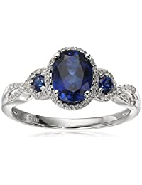 10k White Gold Created Sapphire and Created White Sapphire Oval Ring, Size 7