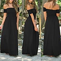 Wensltd Womens Casual Off shoulder Slim Fit Evening Party Long Maxi Pleated Dress (XXL, Black)