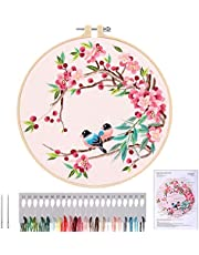 MWOOT Full Range Embroidery Starter Kit, DIY Cross Stitch Stamped Embroidery Kit for Adults Beginner Starter (Birds and Flowers)
