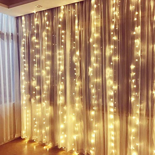 PUHONG 300LED 9.84ft9.84ft/3m3m Window Curtain Lights Lights for Party Wedding Home Patio Lawn Garden (Warm White)