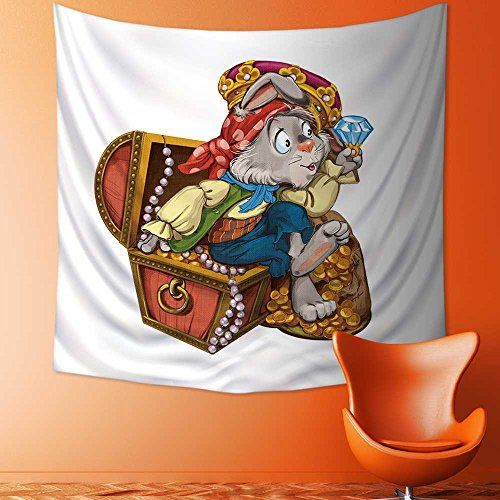 AmaPark Tapestry Wall Hanging Cartoon Hare Pirate Sits on a Chest with Treasures and considers Jewels Invitation Card Home Decorations for Bedroom Dorm 47W x 47L Inch ()