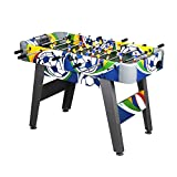 4Ft Foosball Table Designed with football Sports Decal And Built-in Corner Riser Complete Package Great for Adults and Kids Arcade Game Room