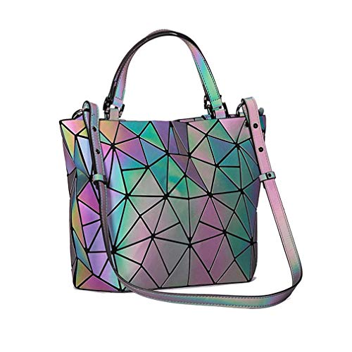 Eco Borse Di Portafogli Decorative friendly Geometriche Luminose Borsa Shard Grandi E Arcobaleno Dimensioni Black Lattice fwxPw50q