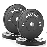 Cheap XMark Black Olympic Bumper Plates, Superb Quality, Heavy Duty Stainless Steel Inserts (4) 25 lb. – Total weight 100 lbs. – XM-3385-25-FOUR