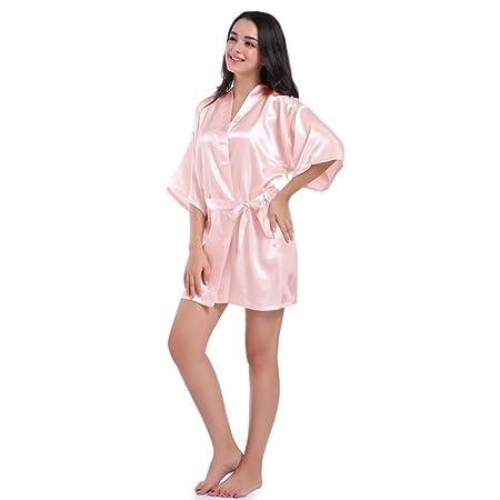 Amazon.com  Datework Women s Pure Half Sleeves Short Kimono Silk Robe  Sleepwear For Bride Wedding Party (S 86636fe8d