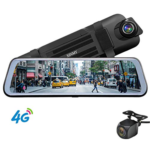 4G ADAS Car DVR Cameras 9.66″ Full Streaming Media Rear View Mirror, Android WiFi Video Recorder Dual Lens FHD1080P Car GPS Navigation