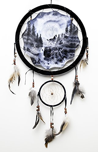 Howling Wolf Dream Catcher 13'' Beads and Feathers 2 Rings. by Vena Beauty