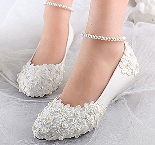 JINGXINSTORE Weiße Spitze pearl Knöchel Blaumen Keil Hochzeit Hochzeit Hochzeit wohnungen Schuhe Braut heels Größe 5-12 B075GK4CK5 Tanzschuhe Gewinnen Sie das Lob der Kunden fbf7d5