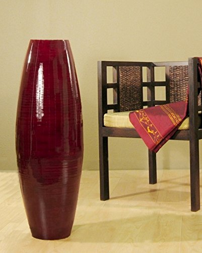 GreenFloralCrafts 47 in. Bamboo Cylinder Floor Vase & Natural Branches - Red Vase