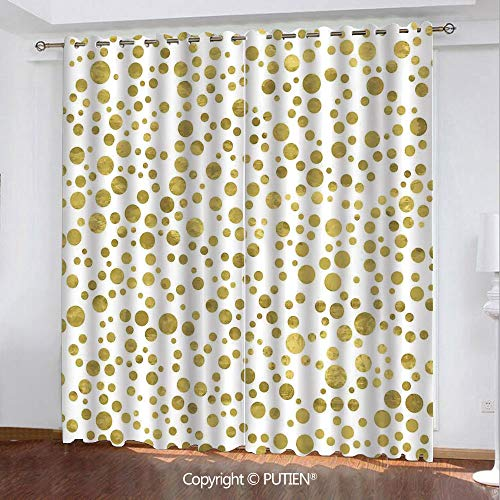 Satin Grommet Window Curtains Drapes [ Polka Dots,Illustration of Golden Polka Dots Vintage Style Art Deco Pattern Bridal Decor,Gold White ] Window Curtain for Living Room Bedroom Dorm Room Classroom