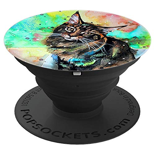 Maine Coon Artistic Funny Cat Breed Mobile Accessory Gift - PopSockets Grip and Stand for Phones and Tablets