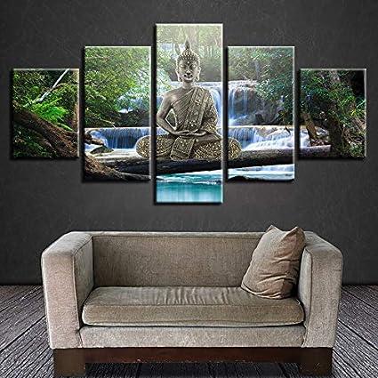 mmwin Arte Decoración de impresión en HD 5 Piezas de Oro Buda ...