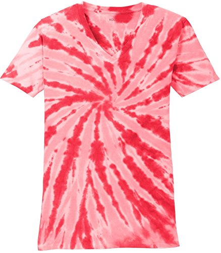 Koloa Surf Ladies Colorful Tie-Dye V-Neck T-Shirt-Red-XS