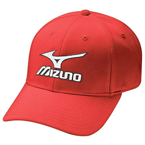 Mizuno 2017 Tour Fitted Mens Performance Hat Stretch-Fit Golf Cap Red ()