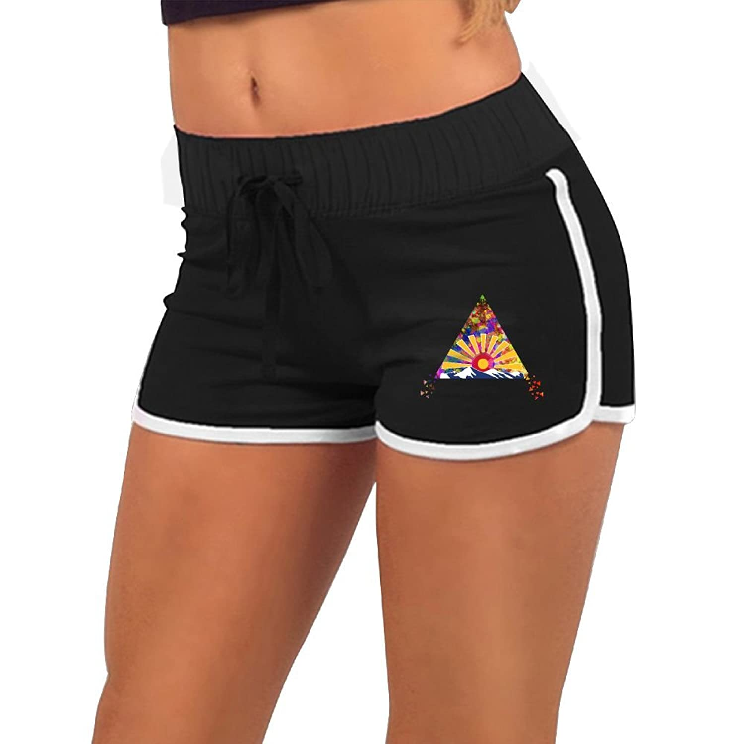 Baujqnhot Watercolor Triangle Colorado Sunset Women Comfort Waist Workout Running Shorts Pants Yoga Shorts
