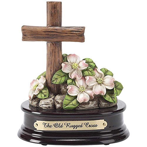 Cross with Dogwood 6 x 6 Resin and Wood Musical Figurine Plays Tune The Old Rugged Cross
