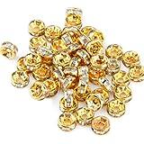 Lotto Stock 50 perline perle oro dorate 6mm con strass