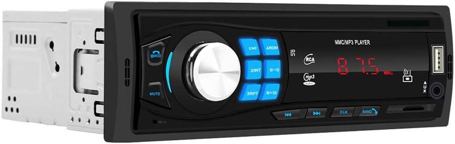 Docooler FM Radio de Coche,Bluetooth Reproductor de música MP3 Kit de Manos Libres para automóvil Reproductor de Audio portátil Soporte de Radio FM Disco U/Tarjeta TF/Entrada Auxiliar