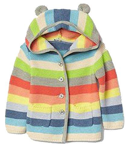 BabyGap Girls Crazy Stripe Bear Hoodie Cardigan Sweater 3-6 Months