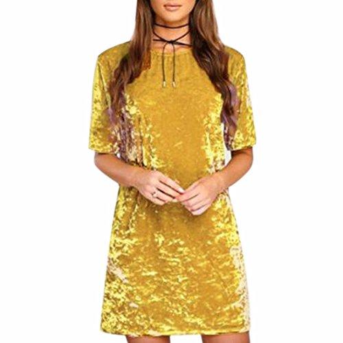 QIYUN.Z Vestidos Para Mujer Terciopelo Manga Corta Vestido de lápiz Cuello Redondo Amarillo