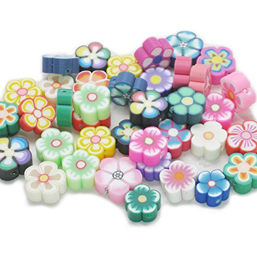 Fujiyuan 150 pcs Nail Art DIY Mixed Flower fimo Jewellery Polymer Clay Spacer DIY Beads Hole Arts Crafts Clay Flower Spacer