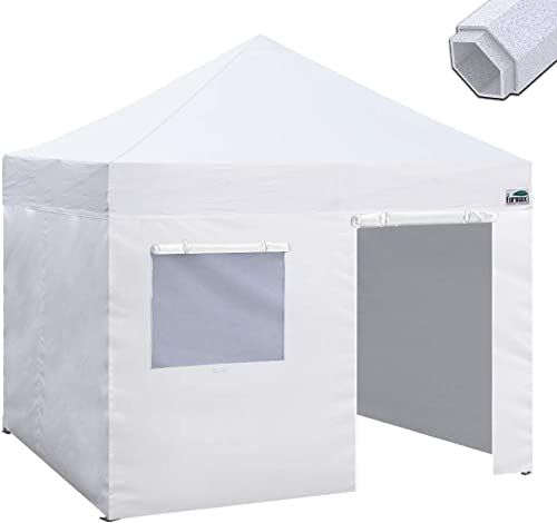 Eurmax Premium 10 x10 Ez Pop-up Canopy Tent Commercial Instant Canopies Shelter with Removable Sidewalls Bonus Wheeled Carry Bag White