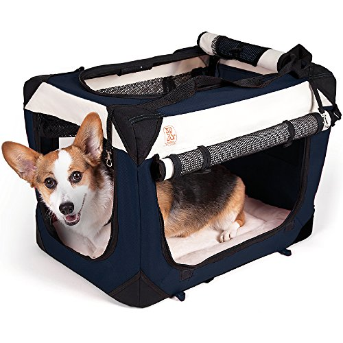 PetLuv'Happy Dog' Small Soft Sided Small Dog Crate & Carrier with Locking Zippers & Comfy Plush Sleep Pillow Roomy Interior Breezy Windows, Sunroof - Collapses, Folds, Lightweight Stylish, Washable