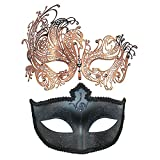 Thmyo Couple's Venetian Masquerade Mask ,Halloween Carnival Mardi Gras Ball Mask 2 Pack (Rose gold+black 2)