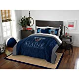 3pc NCAA University Maine Black Bears Comforter / Full Queen Set, Blue, College Football Themed, Fan Merchandise, Team Spirit, Sports Patterned Bedding, Team Logo