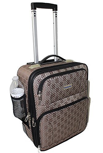 BoardingBlue Rolling Personal Item Luggage Under Seat for the Airlines of American, Frontier, Spirit Brown