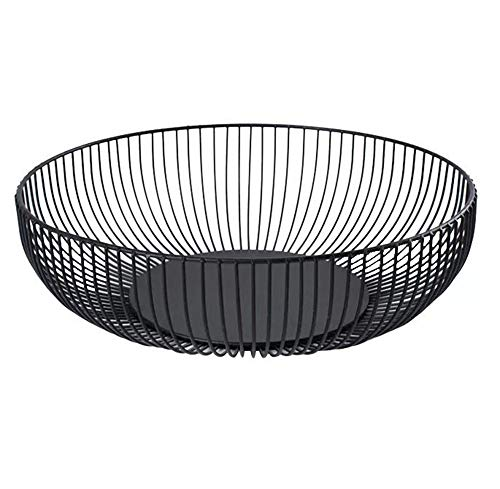 (Metal Wire Countertop Fruit Storage Basket Stand for Kitchen, Large Hemisphere Black Decorative Table Centerpiece Holder for Bread, Candy, K Cup and Other Household Items, 11 Inch)